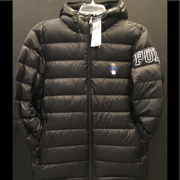 black polo bubble jacket ralph lauren grey bag